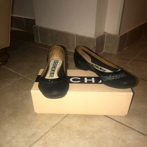 Rochas Black Chambero Eyelet Flats Size 6.5